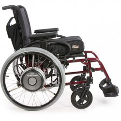 Expands the range of manual wheelchairs by adding power assisted wheels